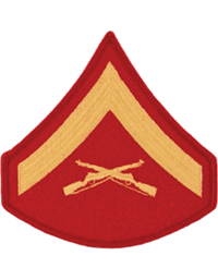 Gold/Red Male Chevron Lance Corporal USMC (Pair)