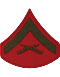 Green/Red Male Chevron Lance Corporal USMC (Pair)