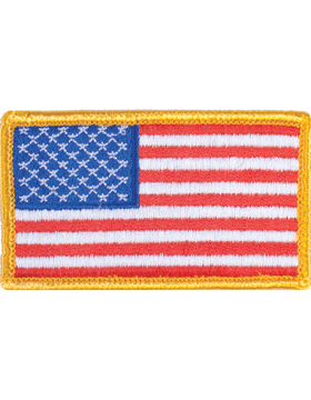 Full Color American Flag with Velcro and Gold Border