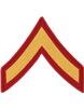 Gold/Red Male Chevron Private First Class USMC (Pair)