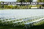 VOLUME DISCOUNTS Plastic Folding Chair - Cheap Plastic folding chairs, White Poly Samsonite Folding Chairs, lowest prices folding chairs