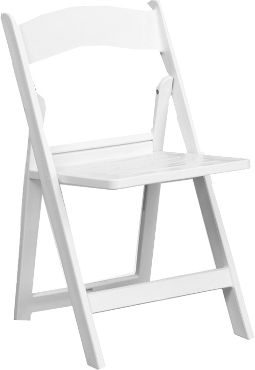 White Resin Slatted Seat Folding Chair