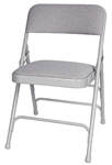 Gray  Padded Vinyl Metal Folding Chair,