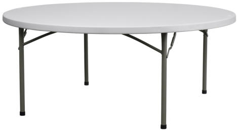 "72"" Round Plastic Table -FREE SHIPPING Wholesale  Round Plastic Folding Tables,  60 Inch California - FREE SHIPPING TABLES"