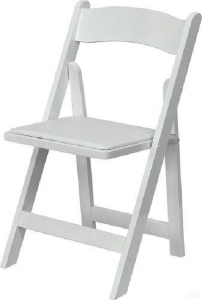 White Wood Folding Chair With