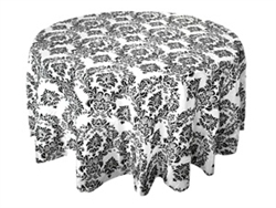 "108"" Black Flocking Damask Tablecloth"