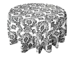 "90"" Black Flocking Damask Tablecloth"