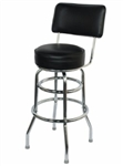 Double Ring Chrome Barstool with Back