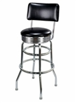 Double Ring Chrome Retro Barstool