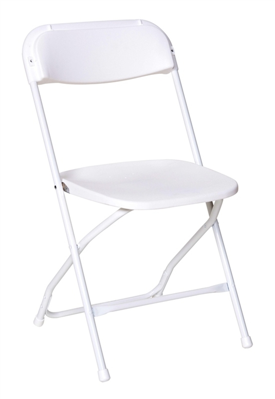 White Poly Folding Chair   Free Shipping
