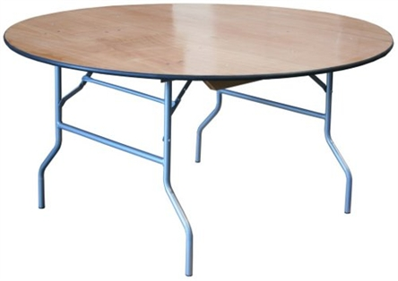 "60"" Round Cheap Wood Folding Table,  Florida Plywood Folding Tables, Lowest prices folding tables"