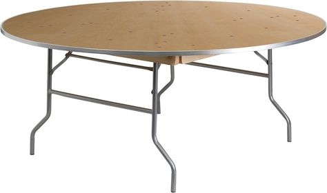 "60"" Round Cheap METAL EDGE Wood Folding Table,  Florida Plywood Folding Tables, Lowest prices folding tables"