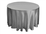 "Silver 108"" Satin Round Tablecloth"