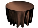"Chocolate 120"" Satin Round Tablecloth"