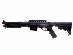 Dboys Tactical Pump-Action Spring Powered Airsoft Shotgun with Tactical Collapsible Stock