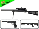 SWAT Sniper Team Bundle with ZM51 Bolt Action Sniper + 581C Pump Action Shotgun +  M22 1911 Spring Airsoft Pistol