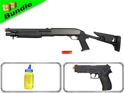 Biker Bundle with DE M56C Tri-Shot Pump Shotgun + CM122 Full Auto Pistol + 2000 Rounds of 0.12G BBs