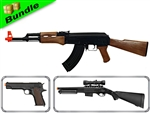 Resistance Bundle with CM022 AK47 Electric Airsoft Gun + CM123 Fully Automatic 1911 Electric Airsoft Pistol + DE M47-A2 Shotgun