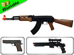 Resistance Bundle with CM022 AK47 Electric Airsoft Gun + CM123 Fully Automatic 1911 Electric Airsoft Pistol + DE M47-B2 Shotgun