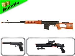 Support Agent Bundle with IU-SVD in Wood Airsoft Spring Sniper Rifle + M24 Spring Pistol + DE M180A2 Shotgun