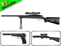 SWAT Assault Class Bundle with ZM51 Bolt Action Sniper Rifle + M47-A2 Pump Action Shotgun +  M22 1911 Spring 1911 Pistol
