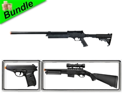 Code Valkyrie Bundle with MB06 Tactical Bolt-Action Sniper Rifle + M47A Shotgun Pump Action Shotgun + G3 Metal Spring Pistol
