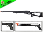 Safari Bundle with MB10 Hunting Bolt-Action Spring Rifle + M600 Chrome Pump Action Shotgun + M757B Spring Pistol