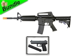 Full Metal Action with BI-3281 Metal Gearbox M4 Electric Airsoft Gun with M23 SOCOM Spring Airsoft Pistol with Suppressor