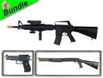 Speartip Bundle with M16A3 Spring Battle Rifle with M56AL Pump-Action Shotgun and M22 M9 with Suppressor Spring Pistol