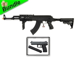 Private Contractor Bundle with CM028C Tactical AK74 Electric Airsoft Gun with M23 SOCOM Spring Pistol with Suppressor