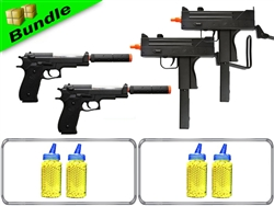Pain 2 the Max Bundle with Dual M42F Spring Guns + Dual M22 M9 Spring Pistols + 8,000 Rounds of .12g BB's