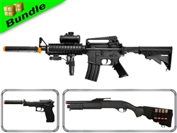 SWAT Assault Team Bundle with M83-B1 M16 Airsoft Electric Gun + M180-D1 Pump Action Shotgun +  M22 M9 Spring Pistol