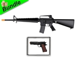 'Nam Bundle with F6618 M16-A1 Electric Airsoft Gun with ZM22 Metal Spring Pistol