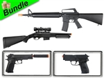 Heist Bundle with M16A2 Spring Assault Rifle M47A1 Tactical Pump Shotgun M24 1911 Spring Pistol with Suppressor and M26 Advanced Spring Pistol