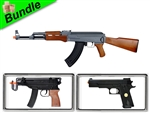 Far Island with CM028 AK47 Electric Airsoft Gun with M37F Sub-Machine Gun Style Spring Gun and P169 .45 Spring Pistol