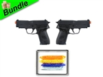 Twin Anchors Bundle with Dual M26 Tactical Navy Spring Pistols and 5000 Rounds of 0.12g BBs