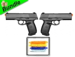 Double Watch Bundle with Dual M27 Tactical Spring Pistols and 5000 Rounds of 0.12g BBs