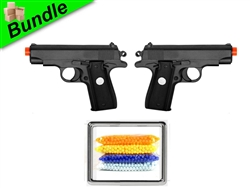 G-Force-2 Bundle with Dual G2 Metal Compact Airsoft Spring Pistols and 5000 Rounds of 0.12g BBs