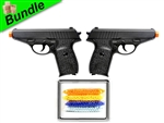 G-Force-3 Bundle with Dual G3 Metal Spy Airsoft Spring Pistols and 5000 Rounds of 0.12g BBs