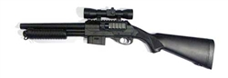 DE Pump-Action M47A2 Spring Airsoft Shotgun with Fixed Stock and Tactical Laser, Red Dot Scope, and Flashlight