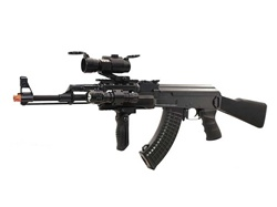 JG AK47 Tactical RIS Black Airsoft Electric Gun Elite Package