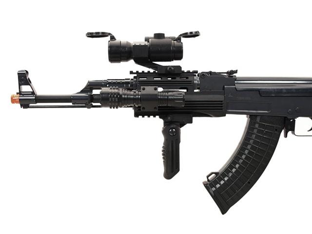 JG AK47 Tactical RIS Black Airsoft Electric Gun Elite Package
