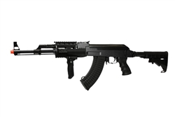 JG Tactical AK47 JG-6811 Fully Automatic Polymer Body Airsoft Electric Gun with Collapsible Stock and Folding Vertical Grip