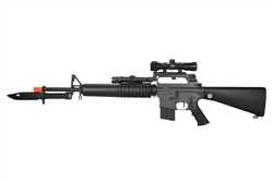 JG M16A2 Full Length Airsoft Electric Gun [JG-F6607] with Bayonet Knife, Scout Scope, Flashlight, and Rail Adapter Package