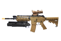 JG M4 Coyote Tan S-System Airsoft Electric Gun and M203 40MM Grenade Launcher Airsoft BB Launcher