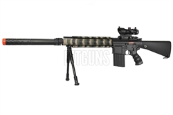 "JG M4 SR25 Full Metal Airsoft Electric Gun [JG-FB6652] with 11.5"" QD Suppressor Unit, Armored Rail Covers and 1x30 Red Dot and Bipod Package"