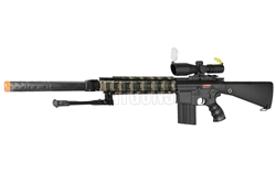 "JG M4 SR25 Full Metal Airsoft Electric Gun [FB6652] with 11.5"" QD Suppressor Unit, Armored Rail Covers and 3-9x40 Rugged Armored Scope and Bipod Package"