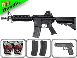 Lancer Tactical Airsoft Gun Player's Package M4 CQBR MK18 LT-02B with 10,000 Rd BB, 3 Magazines, M757 Pistol + Free Shipping