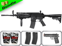 Lancer Tactical Airsoft Gun Player's Package M4 S-System Black LT-05B with 10,000 Rd BB, 3 Magazines, M757 Pistol + Free Shipping