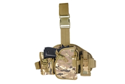 Lancer Tactical Drop-Leg MOLLE Thigh Rig with Holster and Pouches (Multi-Camo)